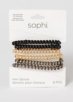 6-Pack Neutral Metallic Spiral Hair Ties
