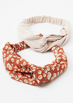 2-Pack Burnt Orange Ditsy Floral Hairbands
