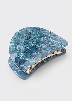 Blue Marble Claw Hair Clip