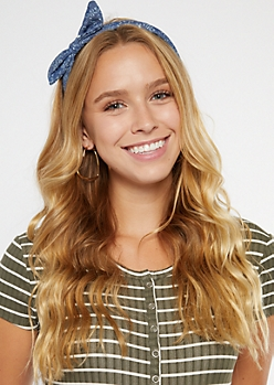 Denim Daisy Print Bow Headband