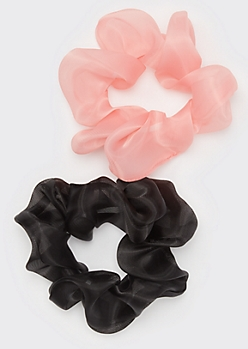 2-Pack Pink Organza Scrunchie Set