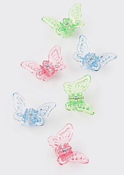 6-Pack Transparent Butterfly Clips