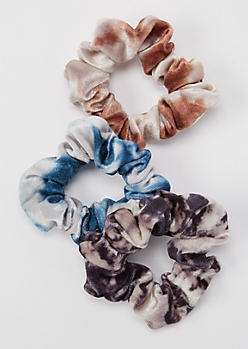 3-Pack Dark Tie Dye Velvet Scrunchie Set