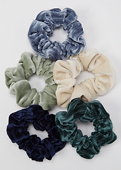 5-Pack Dark Velvet Scrunchie Set
