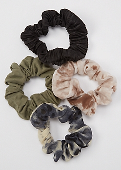 4-Pack Dark Tie Dye Scrunchie Set