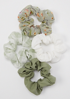 4-Pack Olive Printed Scrunchie Set