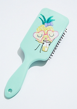 Mint Pineapple Girl Hairbrush