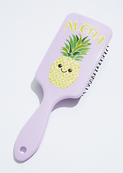 Light Purple Aloha Pineapple Hairbrush