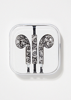 Black Lace Print Earbuds