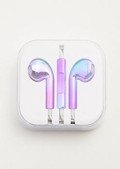 Metallic Purple Oil Spill Universal Earbuds