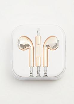 Rose Gold Metallic Universal Earbuds