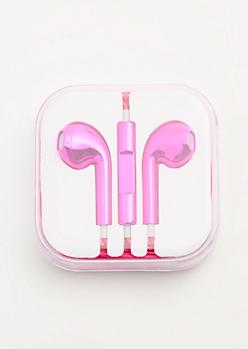 Pink Metallic Universal Earbuds