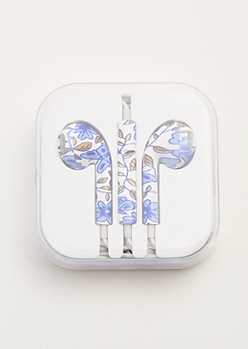 White Floral Print Universal Earbuds