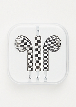 Checkered Print Earbuds