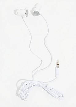 Silver Glitter Stud Earbuds