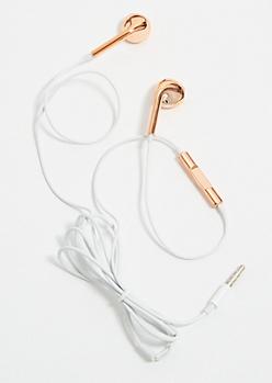Metallic Rose Gold Earbuds