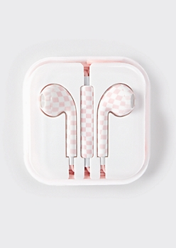 Light Pink Checkered Print Earbuds