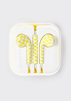 Yellow Checkered Print Earbuds