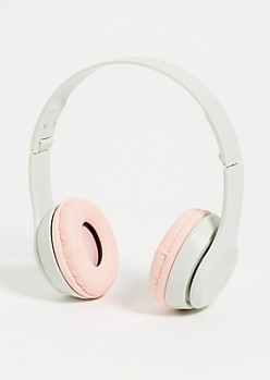 Pink Foldable Bluetooth Headphones