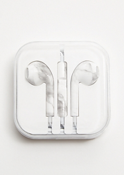 White Marble Print Universal Earbuds