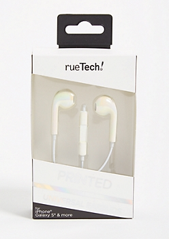 White Iridescent Braided Earbuds