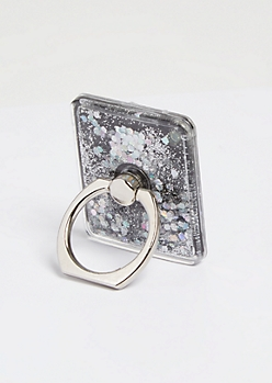 Black Floating Glitter Phone Ring Kick Stand