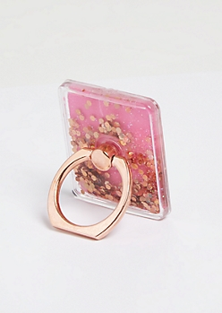 Pink Floating Glitter Phone Ring Kick Stand