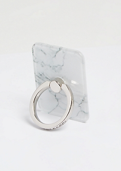 White Marble Print Gemstone Phone Ring Kick Stand