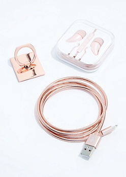 3-Pack Rose Gold Phone Accessories Set