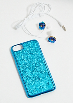 Blue Glitter Flower iPhone Case and Earbud Set