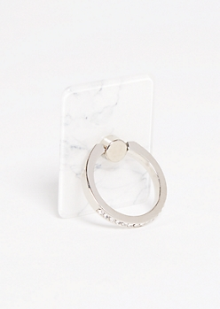 White Marble Rhinestone Ring Holder Kickstand