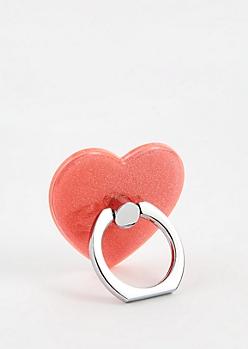 Pink Glitter Heart Smartphone Kickstand