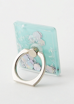 Mint Floating Glitter Phone Ring Kick Stand