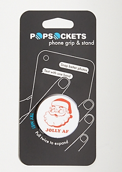 White Jolly Print Popsocket
