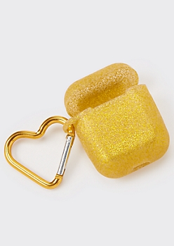 Gold Glitter Wireless Earbud Travel Case Cover
