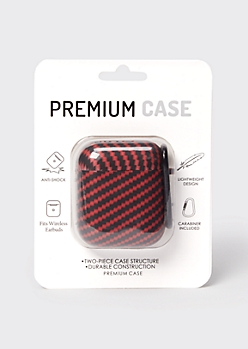 Red Zigzag Print Wireless Earbud Case