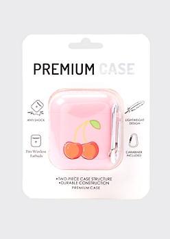 Pink Cherry Print Wireless Earbud Case