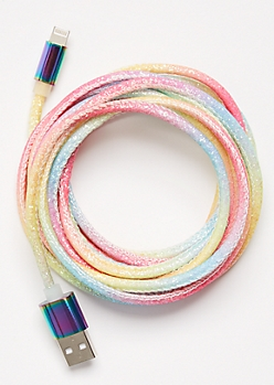 10-Foot Neon Rainbow Glitter Lightning To USB Cable