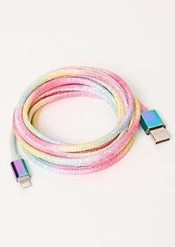 10-Foot Neon Rainbow Glitter Lightning To USB Cable