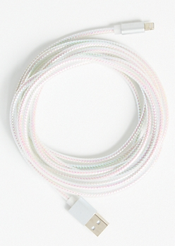 10-Foot White Metallic Lightning To USB Cable