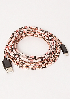 10-Foot Pink Leopard Print Lightning To USB Cable