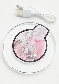 Hot Pink Galaxy Print Wireless Charger Pad