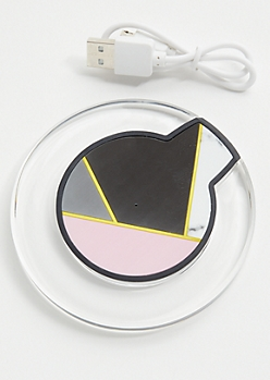 Pink Geometric Marble Wireless Charger Pad