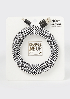 10-Foot Checkered Print Lightning To USB Cable