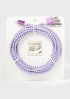 10-Foot Lilac Checkered Print Lightning To USB Cable
