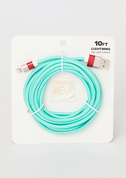 10-Foot Teal Lightning To USB Cable