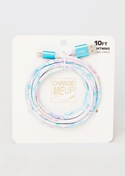 10-Foot Cotton Candy Tie Dye Lightning To USB Cable
