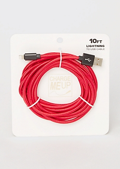 10-Foot Red Carbon Fiber Lightning To USB Cable