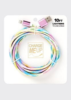 10-Foot Tie Dye Lightning To USB Cable