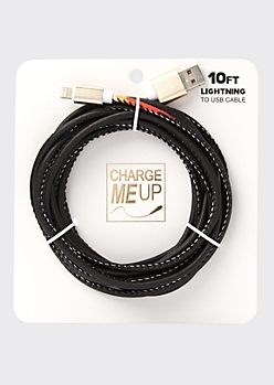 10-Foot Black Flame Print Lightning To USB Cable